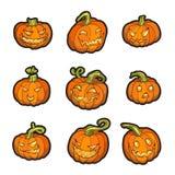 Halloween Yellow Pumpkin Set Royalty Free Stock Images