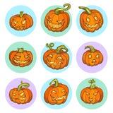 Halloween Yellow Pumpkin Set Stock Image