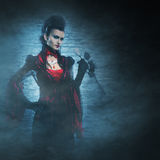 Halloween: a young lady vampire in the dungeon Stock Images