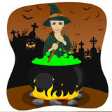 Halloween young witch making potion Stock Photo