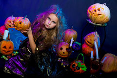 Halloween, young witch Stock Image