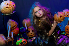 Halloween, young witch Royalty Free Stock Photos