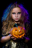 Halloween, young witch Stock Photos