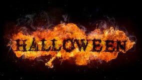 Halloween-Zeichen gemacht von den Feuerflammen Stockbild