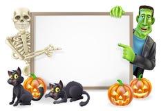 Halloween-Zeichen mit dem Skelett und Frankenstein Stockfotografie