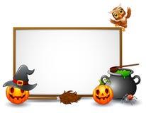 Halloween-Zeichen mit Eule, Spinne und Kürbis lizenzfreie abbildung