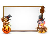 Halloween-Zeichen mit Hexenhut, -eule, -truthahn und -kürbis vektor abbildung