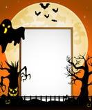 Halloween-Zeichen mit schwarzen Geist- und Fliegenschlägern und gespenstischem Baum vektor abbildung