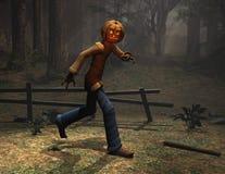 Halloween-Zeichenkürbis-Mannbetrieb Lizenzfreies Stockfoto