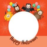 Halloween-Zeichentrickfilm-Figur auf Kreis-Rahmen Lizenzfreie Stockfotografie