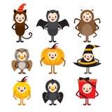Halloween-Zeichentrickfilm-Figur-Design-Satz Lizenzfreie Stockfotos