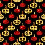 Halloween zeichnet Muster mit Kürbisen Stockbilder
