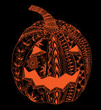 Halloween zentangle pumpkin. �umpkin for Halloween, hand drawn picture, zentangle, vector Stock Photography