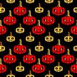 Halloween-Zickzackmuster mit Kürbisen Stockfotos