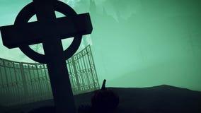 halloween Zmroku kasztel na cmentarzu Fotografia Royalty Free