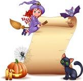 Halloween znak z małym czarownicy, nietoperza, pająka, sieci, świeczek, dyniowego i czarnego kotem, ilustracji