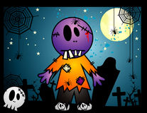 Halloween zombi vector. Halloween cartoon zombi vector over a blue background Royalty Free Stock Photography
