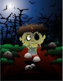 Halloween zombi vector. Halloween cartoon zombi in a cementary in a night background Stock Image