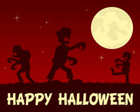 Halloween-Zombieën die in de Nacht lopen Stock Afbeeldingen