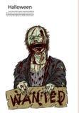 Halloween-Zombie auf Bluthintergrund Lizenzfreies Stockbild