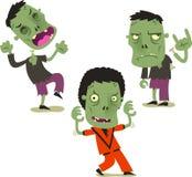 Halloween zombie cartoon action set 2 Royalty Free Stock Photos