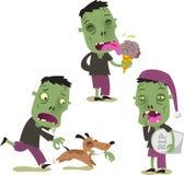 Halloween zombie cartoon action set 3 Stock Photography