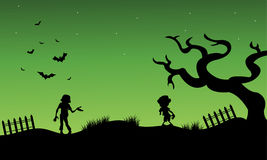 Halloween zombie and childs silhouette vector Stock Photo