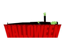 Halloween Zombie in coffin draws hand Royalty Free Stock Image