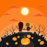 Halloween Zombie Couple Cemetery Ghost Pumpkin Stock Image