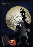 Halloween zombie in fron of a haunted house vector illustration