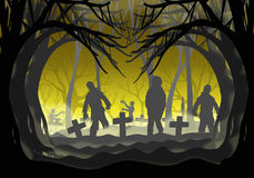Halloween zombie in graveyard Royalty Free Stock Photos