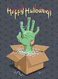 Halloween and Zombie hand from the box Stock Photos