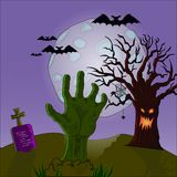 Halloween zombie Hand from the earth on the moon stock illustration