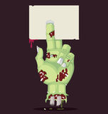 Halloween Zombie Hand and Greeting Card. Stock Photos