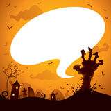 Halloween zombie hand with speech bubble Royalty Free Stock Image