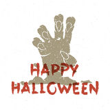 Halloween zombie hand vector illustration. Halloween zombie hand coming out from grave vector illustration Royalty Free Stock Image