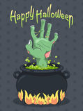 Halloween and Zombie hand from the Witches Cauldron Stock Photos