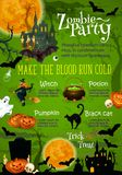 Halloween horror party banner with ghost house Royalty Free Stock Photo