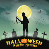 Halloween zombie hunter with crossbow in graveyard. A halloween zombie hunter with crossbow in graveyard Stock Photo