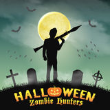 Halloween zombie hunter with rpg in graveyard Stock Image