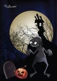 Halloween-Zombie im fron eines frequentierten Hauses vektor abbildung