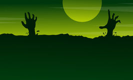 Halloween with zombie landscape on green background Royalty Free Stock Images