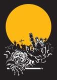 Halloween zombie night. Zombie and yellow full moon on halloween night royalty free illustration