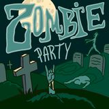 Halloween zombie party concept background, hand drawn style stock illustration