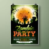 Halloween Zombie Party flyer vector illustration with hands and cemetery on green sky background. Holiday design with Stock Photography