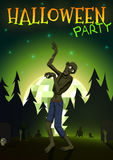 Halloween Zombie Party on green disco ball moon background. Vector illustration Royalty Free Stock Photos