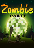 Halloween Zombie Party on green disco ball moon background. Vector illustration Stock Images