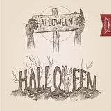Halloween zombie party hands posters handdrawn engraving style. Template banner print web site set pen pencil crosshatch hatching paper painting retro vintage Stock Illustration