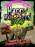 Halloween Zombie Party Poster. EPS 10 Royalty Free Stock Images