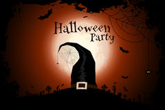 Halloween Zombie Party Poster with Hat. Holiday Card. Royalty Free Stock Photo